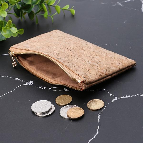 環保軟木拉鍊零錢卡包